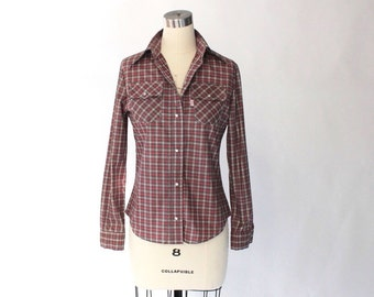 1960s Levis Big E Plaid Western Shirt with Pearl Snaps // 70s Vintage Long Sleeve Poplin Shirt // Small