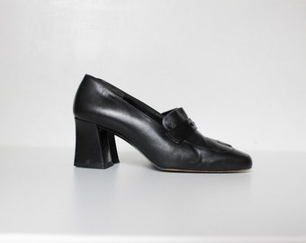 Vintage Lagerfeld High Heel Loafers // Karl Lagerfeld Black Leather Chunky Heel Shoes // Size 5.5