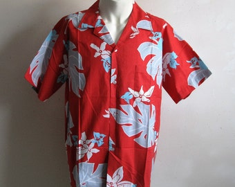 Vintage 1980s Hawaiian Shirt Cotton Red 80s Floral Short Sleeve Mens Summer Shirts Large