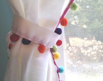 Rainbow Pom Pom Tieback