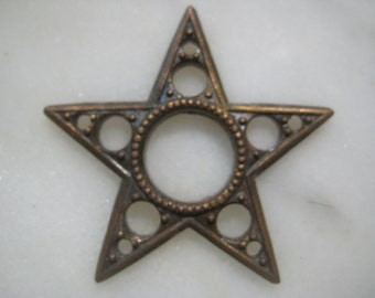 Vintage Star Finding; Celestial Light of the Sky, Detailed Open Work Die Struck Brass Finding, Embellishment, 35mm size, 1 Piece