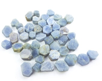 SAPPHIRE. Blue Sapphire Natural Crystal Slices. Hexagon. Unheated Untreated. 46 pc. 47.68 cts. 4 to 7 mm. 2 to 4 mm thick. (S1809)