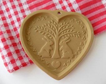 Brown Bag Cookie Art Heart Mold. Clay Bakeware. Craft Supplies. Baking Cookware. Kitchen Display. Vintage Cottage Farmhouse Wall Decor.