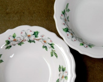 Vintage Ironstone Restaurant Ware Syracuse China Dogwood Coupe Cereal Bowls. Replacement China. Rustic Farmhouse Tableware. Dinnerware.