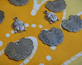 Mixed Charms | Reversible Chinese Zodiac Dragon  | Buddha Head | Qty. 8 DIY Jewelry Supplies | Destash - Wholesale Lot | Stamped Findings
