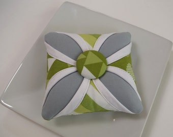 Cathedral Window Pincushion Color Theory Modern Gray and Lime
