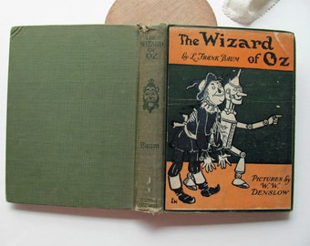 Vintage Wizard of OZ Frank Baum 1903 Denslow Color Plates Illustrated Children Classic Dorothy Toto Tin Man Witch Judy Garland Nursery Decor