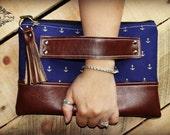 Clutch - Nautical Clutch - Anchor clutch - Zipper Clutch - Leather clutch