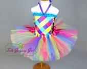 Girl's Rainbow Birthday Tutu and Woven Ribbon Top...Birthday Tutu Outfit...Birthday Party Costume...Cake Smash Tutu Set...BIRTHDAY CARNIVAL