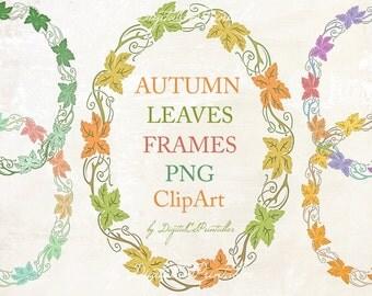 Digital Frame clipart Fall clipart Frame png digital frames and border clipart Leaf clipart Scrapbook embellishment Frame download frame