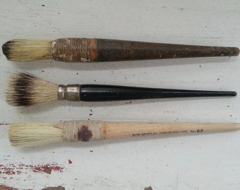 Vintage English paint brushes, vintage sign making brushes, photo props