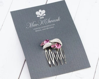 Gifts Under 15 - Vintage Pink Crystal Hair Comb - Rhinestone Hair Comb - Unique Christmas Gifts for Her - Pink Hair Comb