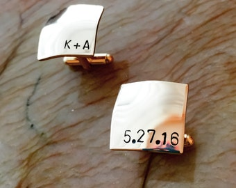 Gold Brass Cufflinks - Custom Cufflinks - Personalized Cuff links - Your Name, Quote, Initials, Monogram - Personalized Stamped Cuff links