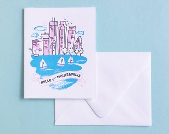 Letterpress Card- Hello from Minneapolis