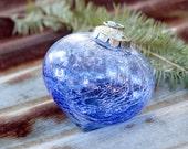 Vintage Kugel Style CRACKLE Heavy Glass Christmas Ornaments, Mosaic Ball, Mirror Holiday Seasonal Decor, Glass Heart Christmas Tree