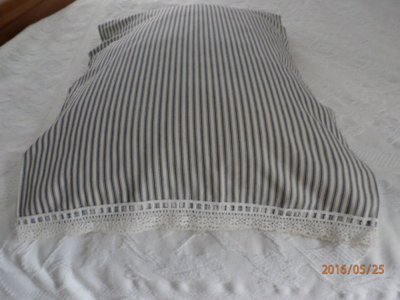 Shabby Chic King Size Pillow Shams : Shabby Chic Pair Cotton Pillow Sham Blue Ticking Pillowcase