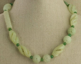 Serpentine Necklace Carved Jade Chinese Green Lime