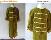 Reserved for DebbieON SALE Authentic Victorian Boys Suit - Green Velvet  Jacket Pants - Military Style
