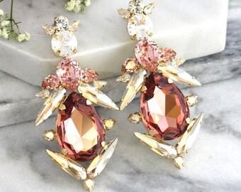 860640cf9 blush earrings champagne blush earrings bridal earrings statement  earringsantique pink earringslong dangle blush earringsblush jewelry