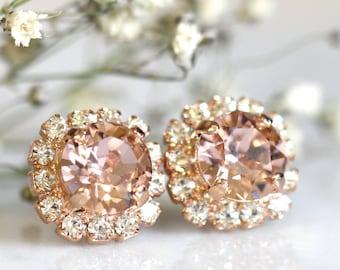 Rose Gold Blush Studs,Swarovski Blush Earrings,Bridesmaids Blush Earrings,Rose Gold Earrings,Bridal Earrings,Blush Studs,Rose Gold Earrings
