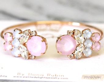 Rose Quartz Bracelet,Swarovski Bridal light pink bracelet,Bridal Rose Gold Bracelet, Bridal Bracelet,Bridesmaids Gifts, Blush Bracelet