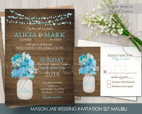 Cottage Mason Jar Wedding Invitation: Mason Jar Wedding Invitation Set Rustic Mason By