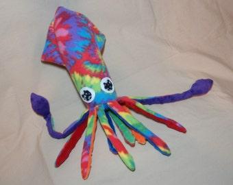 Crazy Kate the Tie Dyed Fleece Squid - Stuffed Plush Ocean Marine Animal Sea Creature