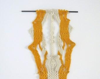 Vintage woven hanging/ Moravian weaving/ orange white wall hanging