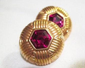 clean RUBY red signed SAL SWAROVSKI hexagon rhinestones gold tone pierced earrings