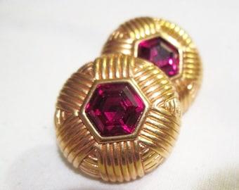 clean RUBY red signed SAL SWAROVSKI hexagon rhinestones gold tone pierced earrings