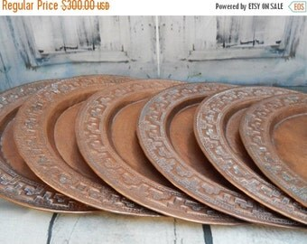 DISCOUNTED Vintage RARE Set Of 6 ~Aztec Rustic Handcrafted Solid COPPER Charger Plate ~vintage Kitchen rustic farmhouse kitchen etched coppe