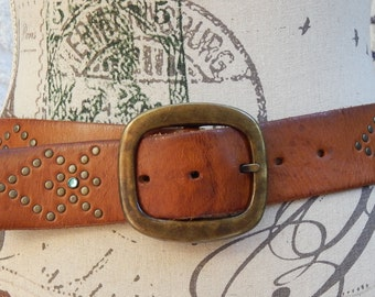 Vintage Express Belt~Studded~Colored Rhinestone Accent~Thick Leather~Size Small