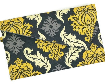 Envelope Clutch Bag Purse - Grey and Yellow Damask Fold Over Clutch, Bridesmaid Clutch