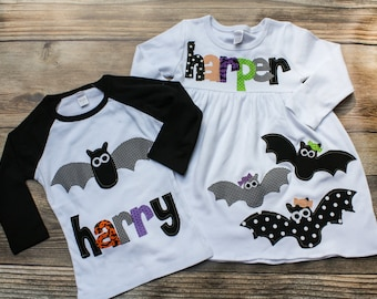 Halloween Sibling Set- Halloween Brother Sister Matching Outfits, Halloween Bat