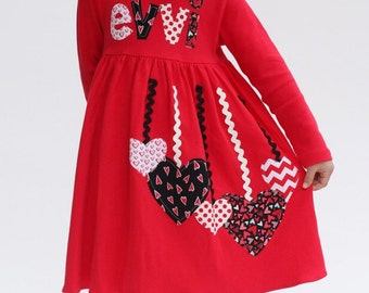 Valentineu0027s Dress For Girls, Valentine Dress, Personalized Valentine Dress,  Girlu0027s Valentine Dress