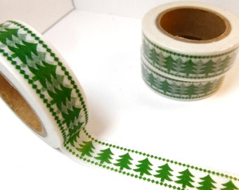Christmas Tree Washi Tape - Paper Tape Great for Scrapbooking Paper Crafts and Christmas Decorations - Green Pine Trees 15mm x 10m