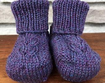 Stay On Baby! Booties - Newborn Size - Purple