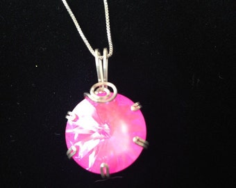Pink Swarovski wrapped in sterling