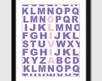 Personalized Name in the Alphabet ABC Wall Art - 8x10 Baby Children Nursery Wall Print Poster