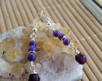Hadley Earrings in Silver w/Sugalite gemstones & Purple Czech glass-Wire wrapped-casual-Earthy-Bohemian-Hippie-Colorful-everyday wear-floral