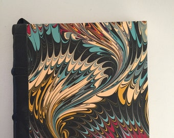 Handmade Journal with Hand Marbled Paper and Leather Spine