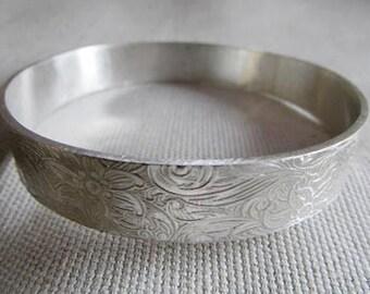 bangle wide bangle wide bracelet floral pattern bangle engraved bangle pattern bangle statement jewelry sterling silver chunky bangle
