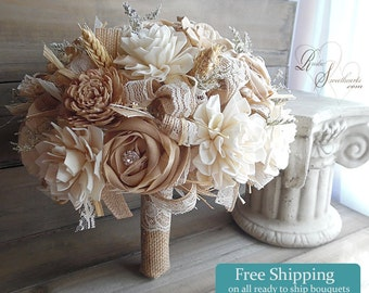 Ready to Ship ~~~ Rustic Shabby Chic Bridal Bouquet Large, Sola Flowers, Tan Cotton Roses, Wheat, Burlap, Lace, Rhinestones