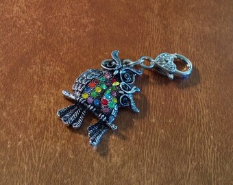 Large Momma And Baby Owl Key Chain Key Ring Add On Colorful Rhinestone Owls 2 3/4 Inches Long Handmade Add on Dangle Charms