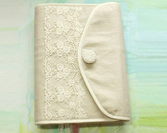 Bible cover sewing kit, Hobonichi cover Journal Cover  in  linen with white lace ,linen,cotton,