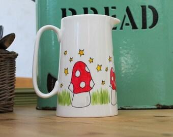 Mushroom and stars hand painted farmhouse jug