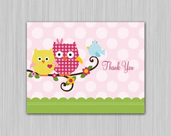 Happi Happy Tree Owls/Polka Dots/Birds/Flowers Printable Baby Shower Thank You Card  U Print yourself