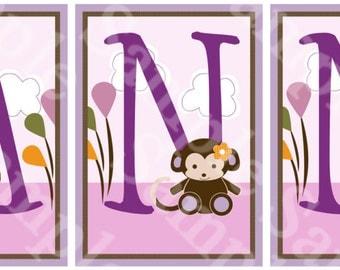 Unframed Jacana Jungle/Girl Animals Letter Art 5x7inch  Nursery Art Prints Monkey, Giraffe, Elephant, Hippo