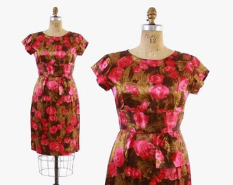 Vintage 60s DRESS / Early 1960s Satin ROSE Roses Fitted Wiggle Dress With Hip Swag M