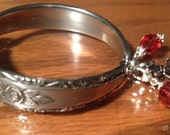 Stainless Steel Spoon/Silverware/Flatware Bracelet With Hot Pink Crystal Bangles and Charm